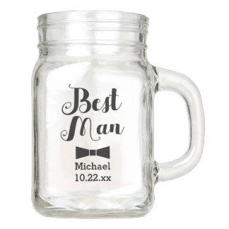 Personalized Best Man Wedding Bridal Groomsman Mason Jar
