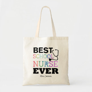 Personalized Best School Nurse Ever Colorful Fun Tote Bag