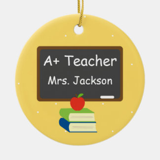 Personalized Best Teacher Chalkboard Ceramic Ornament