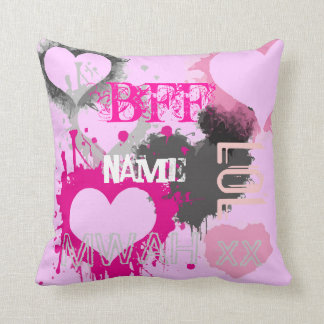 Personalized BFF best friends forever pink Cushion