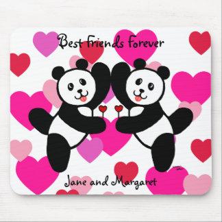 Personalized BFF Panda Friends Mousepad
