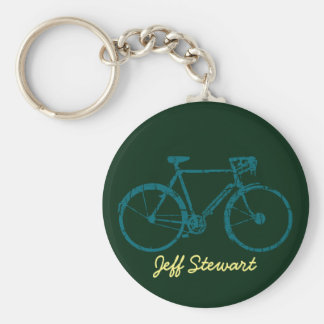 personalized bicycle basic round button key ring