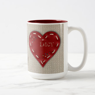 Personalized Big 2-tones Mug with Leather Heart