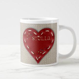 Personalized Big Coffee Mug w/ Leather Heart