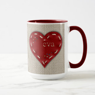 Personalized Big Combo Mug with Leather Heart