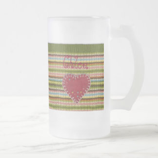 Personalized Big Frosted Gl Mug w/ Knitted Pattern
