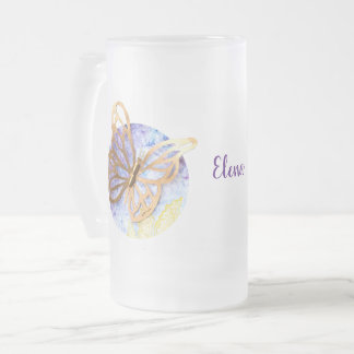 Personalized Big Frosted Mug with Butterflies