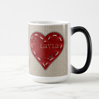 Personalized Big Morphing Mug with Leather Heart