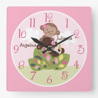Personalized Big Sister Little Sister Monkey Clock