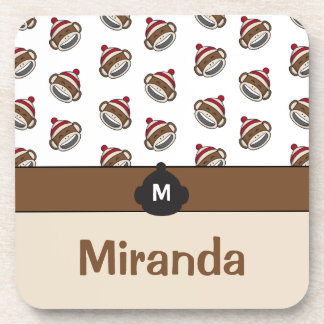 Personalized Big Smile Sock Monkey Emoji Coaster