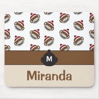 Personalized Big Smile Sock Monkey Emoji Mouse Pad