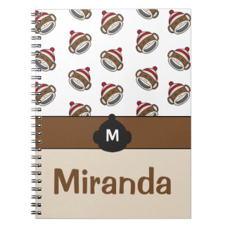 Personalized Big Smile Sock Monkey Emoji Spiral Notebook