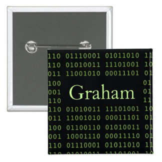 Personalized Binary Code 15 Cm Square Badge