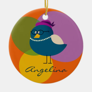 Personalized Bird Female Cute Lady Funny Turquoise Ceramic Ornament