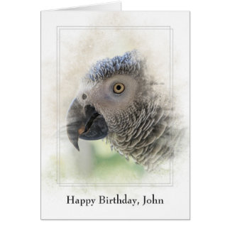 personalized birthday-African Grey Card