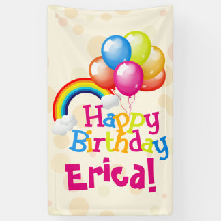 Personalized Birthday Balloons Rainbow Banner