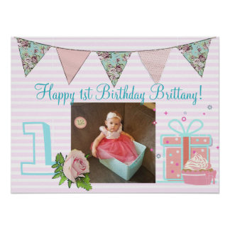 Personalized  Birthday Banner for1st Birthday Girl Poster