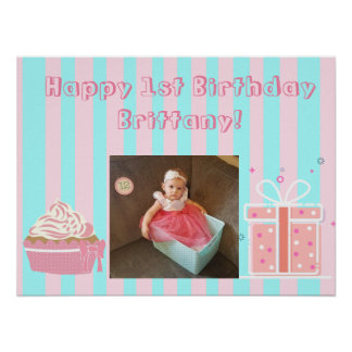 Personalized Birthday Banner for 1st Birthday Girl Poster