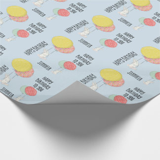 Personalized Birthday Bunnies Floating w Balloons Wrapping Paper