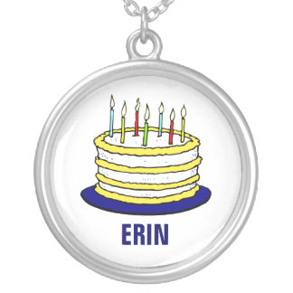 Personalized Birthday Cake and Candles Silver Plated Necklace