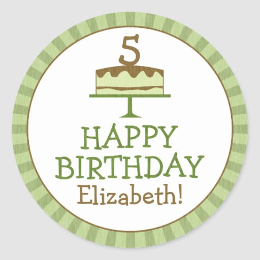 Personalized Birthday Cake Kids Birthday Stickers