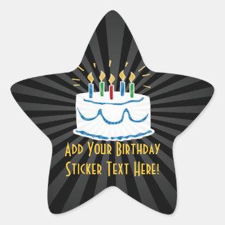 Personalized Birthday Cake Star Favor Sticker