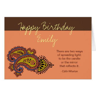 Personalized Birthday card--Paisley, Wharton Quote
