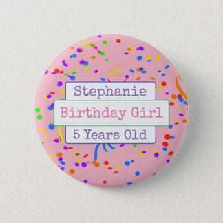 Personalized Birthday Girl Fun Confetti Button