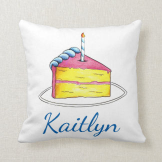 Personalized Birthday Girl Pink Cake Slice Pillow