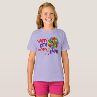 Personalized Birthday Party Favor Rainbow Lollipop T-Shirt
