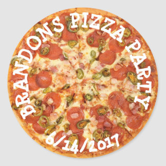Personalized Birthday Pizza Party Stickers