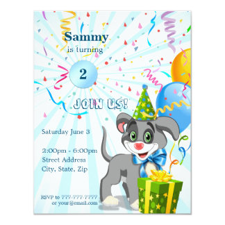 Personalized Birthday Puppy Cartoon Invitaion Card