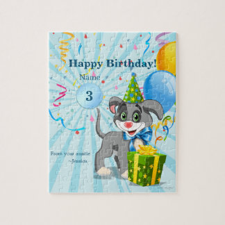 Personalized Birthday Puppy Cartoon Jigsaw Puzzle