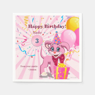 Personalized Birthday Puppy Cartoon Paper Napkin