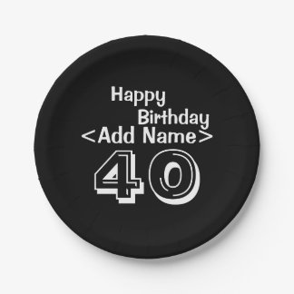 "Personalized Black 40th Birthday 7"" Paper Plates"