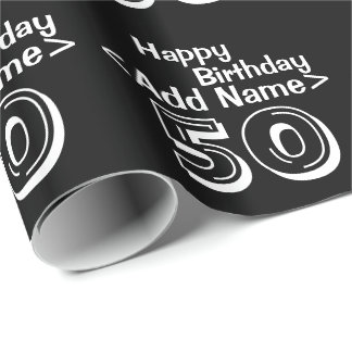 Personalized Black 50th Happy Birthday Templates Wrapping Paper