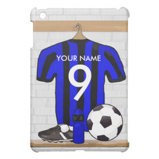Personalized Black and Blue Football Soccer Jersey Cover For The iPad Mini