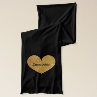 Personalized black and gold glitter heart scarf
