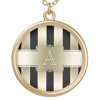 Personalized Black and Gold Stripes Jewelry