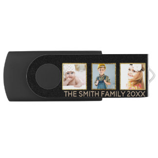 Personalized Black and Gold Three Photo Frame USB Flash Drive