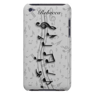 Personalized black and gray musical notes iPod touch covers