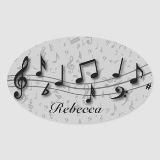 Personalized black and gray musical notes sticker