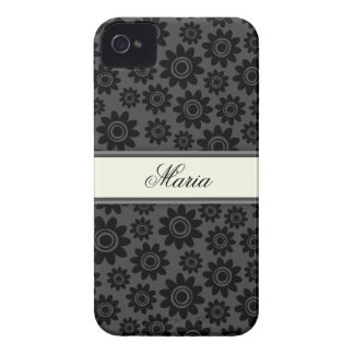 Personalized black and grey flower pattern case