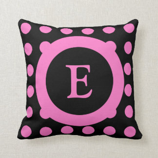 Personalized black and hot pink polka dots cushion