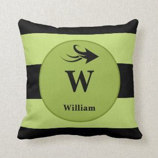 Personalized black and lime green monogram cushion