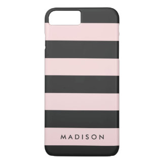Personalized Black and Pink Stripe iPhone 7+ Case