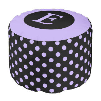Personalized black and purple polka dots pouf