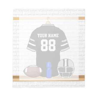 Personalized Black and Silver Gray Football Jersey Notepad