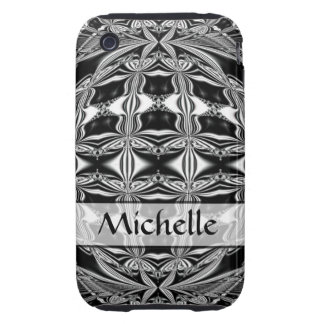 Personalized black and white abstract iPhone 3 tough case