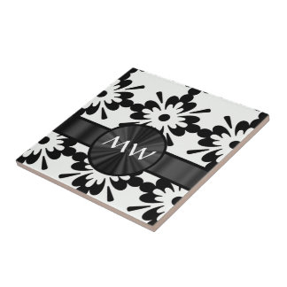 Personalized black and white abstract tile